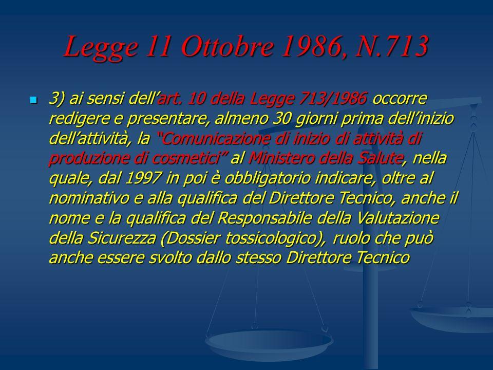 Legge 11 Ottobre 1986, N.713 3) ai sensi dellart. 10 della Legge 713/1986 occorre redigere e presentare, almeno 30 giorni prima dellinizio dellattivit