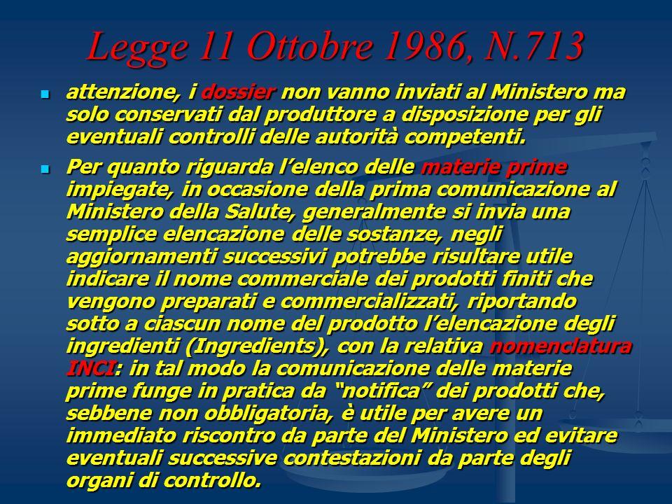 Legge 11 Ottobre 1986, N.713 attenzione, i dossier non vanno inviati al Ministero ma solo conservati dal produttore a disposizione per gli eventuali c