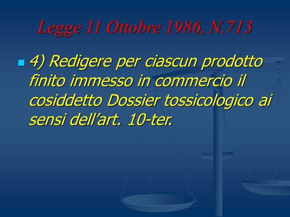 Legge 11 Ottobre 1986, N.713 4) Redigere per ciascun prodotto finito immesso in commercio il cosiddetto Dossier tossicologico ai sensi dellart. 10-ter