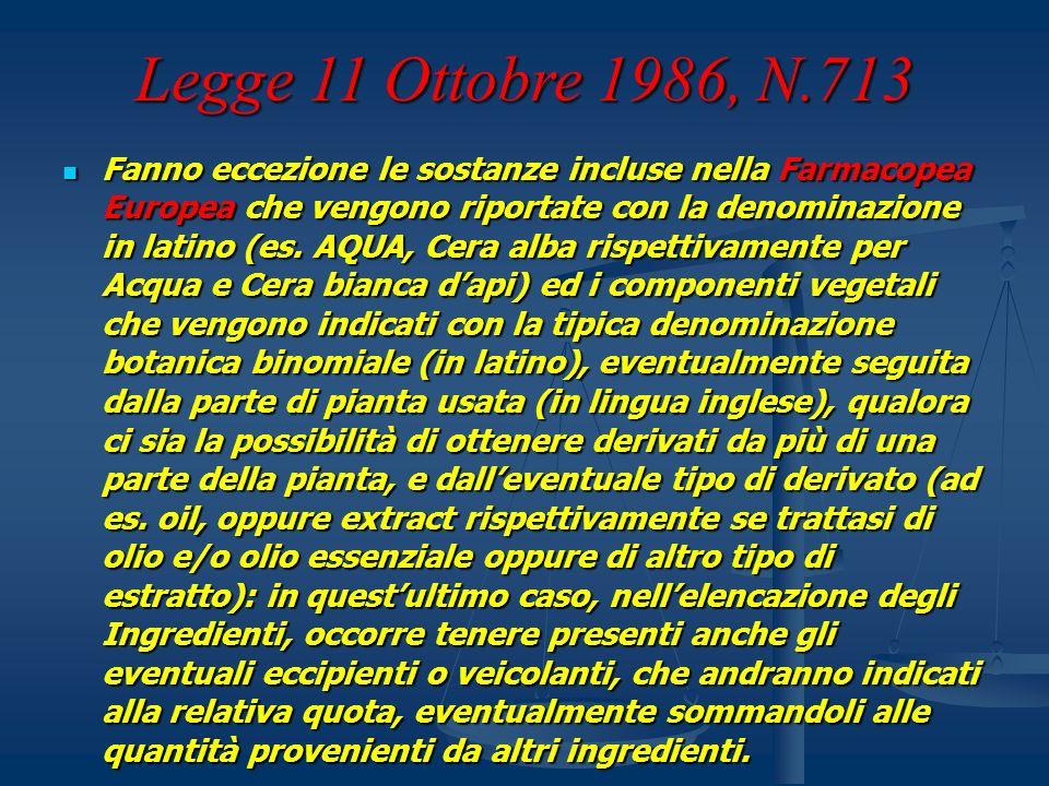 Legge 11 Ottobre 1986, N.713 Fanno eccezione le sostanze incluse nella Farmacopea Europea che vengono riportate con la denominazione in latino (es. AQ
