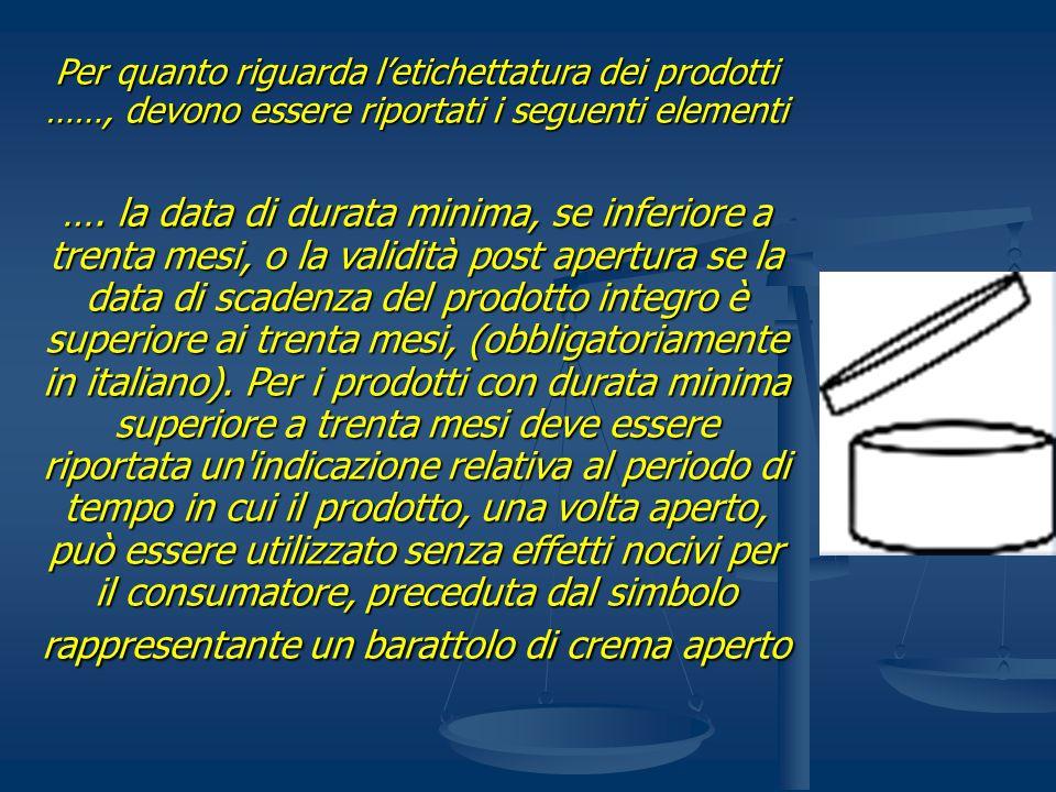 Per quanto riguarda letichettatura dei prodotti ……, devono essere riportati i seguenti elementi …. la data di durata minima, se inferiore a trenta mes