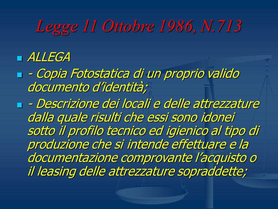 Legge 11 Ottobre 1986, N.713 ALLEGA ALLEGA - Copia Fotostatica di un proprio valido documento didentità; - Copia Fotostatica di un proprio valido docu
