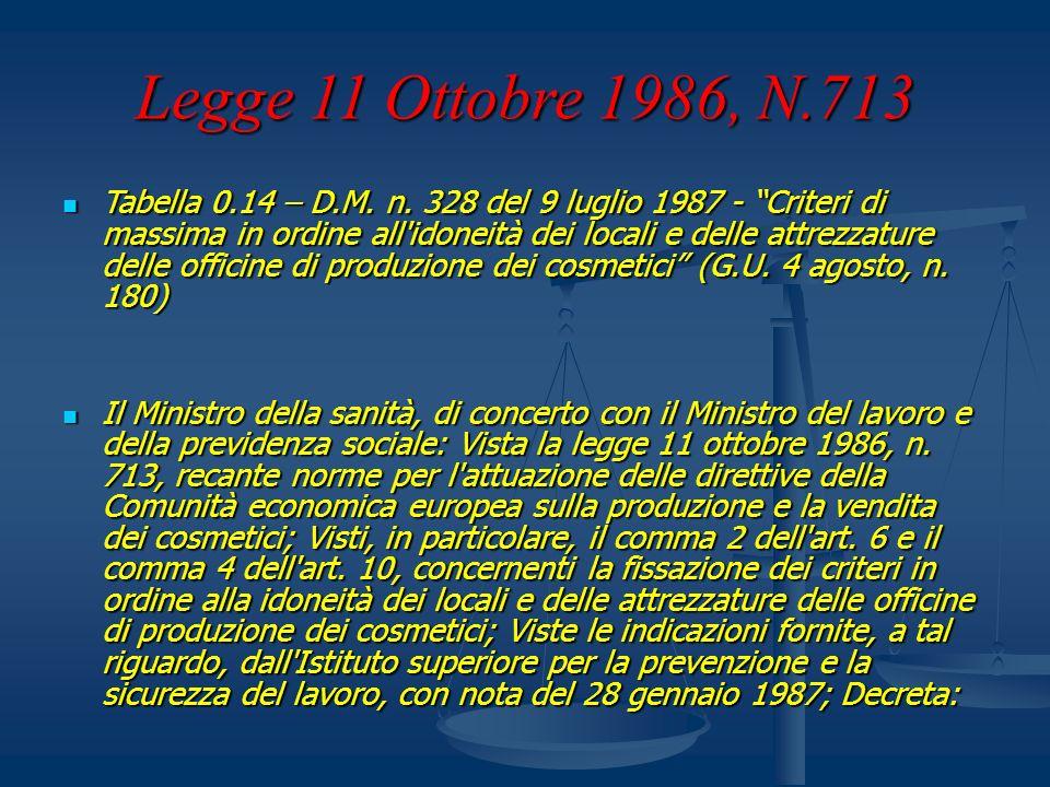 Legge 11 Ottobre 1986, N.713 Tabella 0.14 – D.M. n. 328 del 9 luglio 1987 - Criteri di massima in ordine all'idoneità dei locali e delle attrezzature