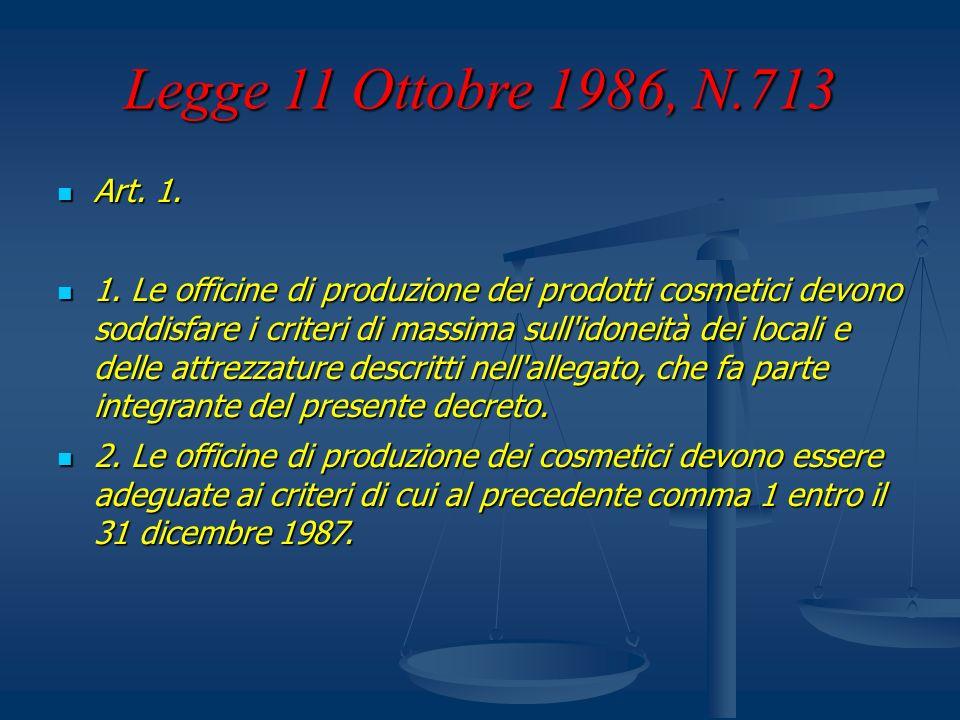 Legge 11 Ottobre 1986, N.713 Art. 1. Art. 1. 1. Le officine di produzione dei prodotti cosmetici devono soddisfare i criteri di massima sull'idoneità