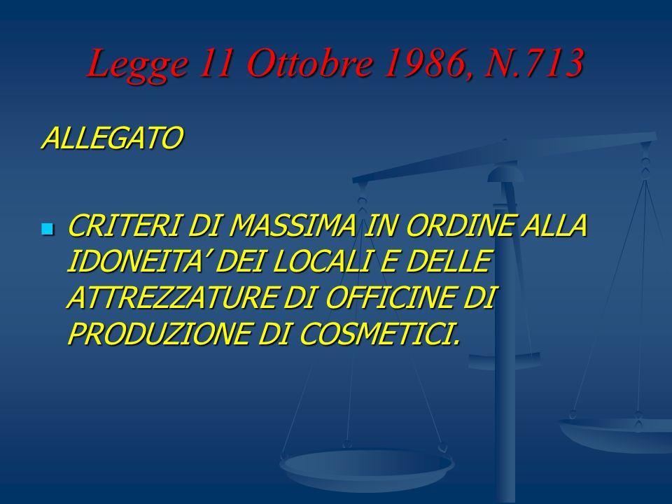 Legge 11 Ottobre 1986, N.713 ALLEGATO CRITERI DI MASSIMA IN ORDINE ALLA IDONEITA DEI LOCALI E DELLE ATTREZZATURE DI OFFICINE DI PRODUZIONE DI COSMETIC