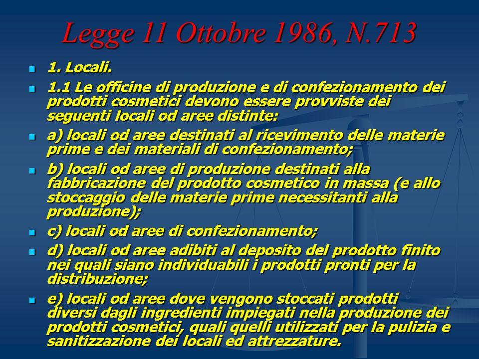Legge 11 Ottobre 1986, N.713 1. Locali. 1. Locali. 1.1 Le officine di produzione e di confezionamento dei prodotti cosmetici devono essere provviste d