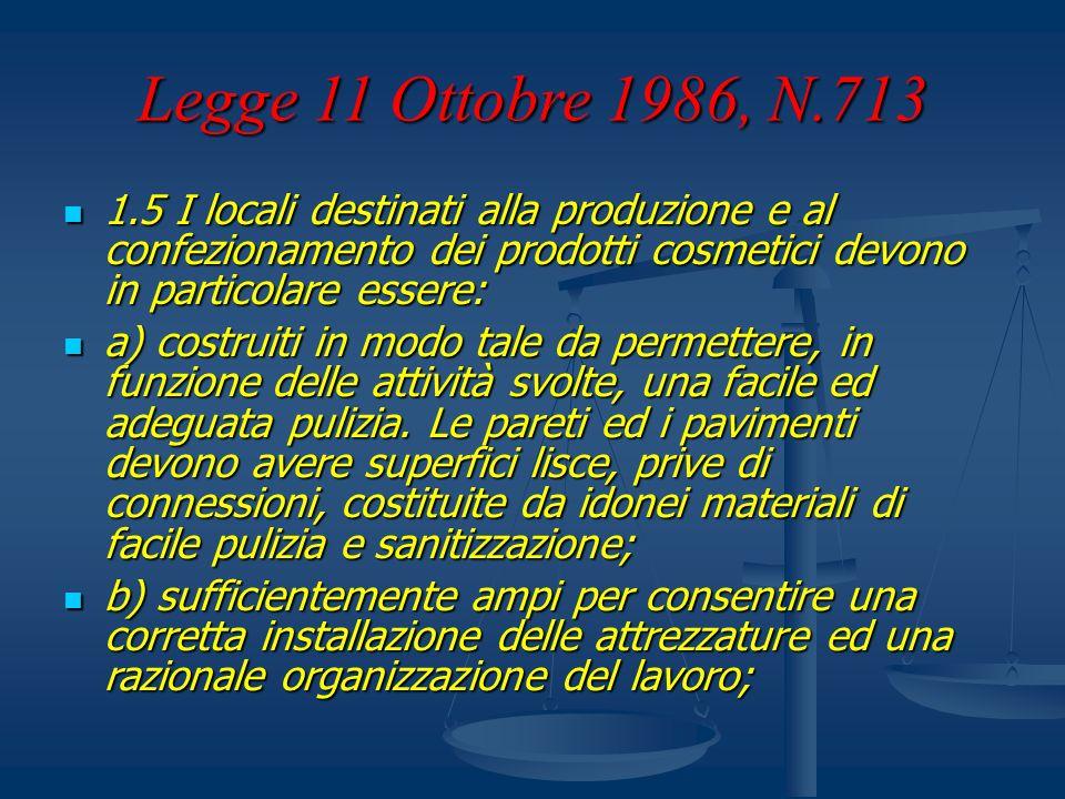 Legge 11 Ottobre 1986, N.713 1.5 I locali destinati alla produzione e al confezionamento dei prodotti cosmetici devono in particolare essere: 1.5 I lo