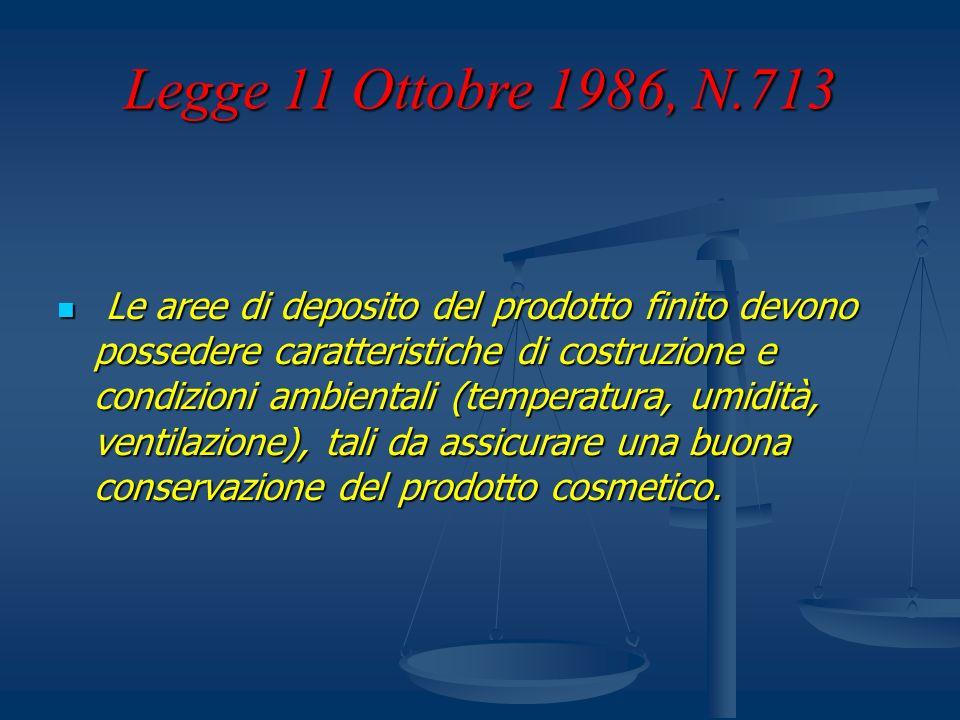 Legge 11 Ottobre 1986, N.713 Le aree di deposito del prodotto finito devono possedere caratteristiche di costruzione e condizioni ambientali (temperat