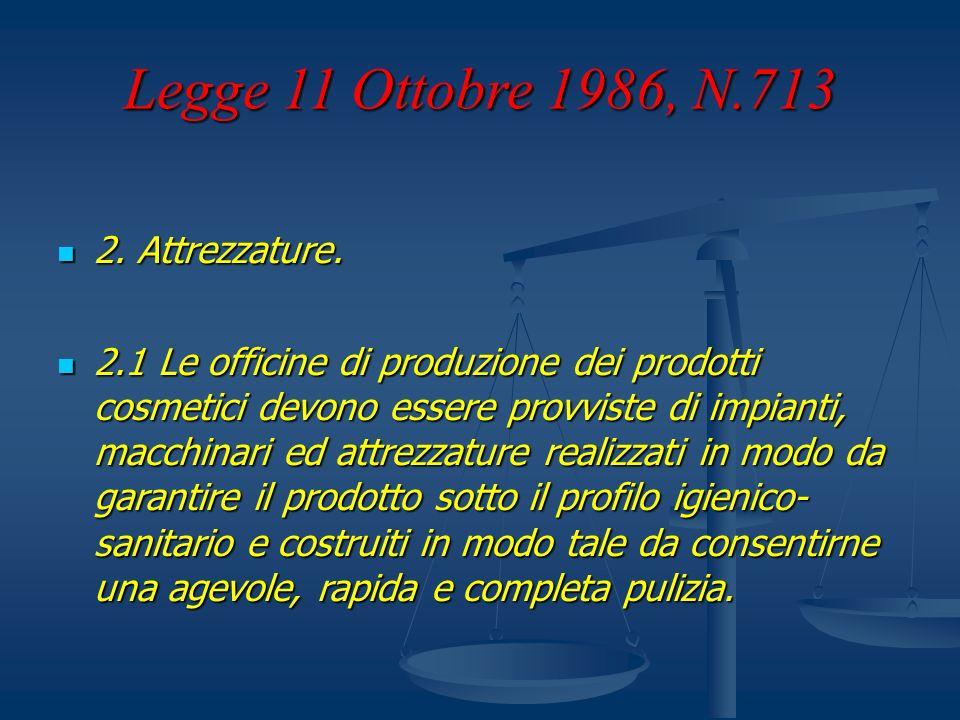 Legge 11 Ottobre 1986, N.713 2. Attrezzature. 2. Attrezzature. 2.1 Le officine di produzione dei prodotti cosmetici devono essere provviste di impiant