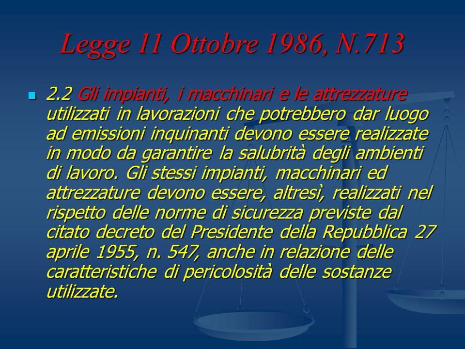 Legge 11 Ottobre 1986, N.713 2.2 Gli impianti, i macchinari e le attrezzature utilizzati in lavorazioni che potrebbero dar luogo ad emissioni inquinan