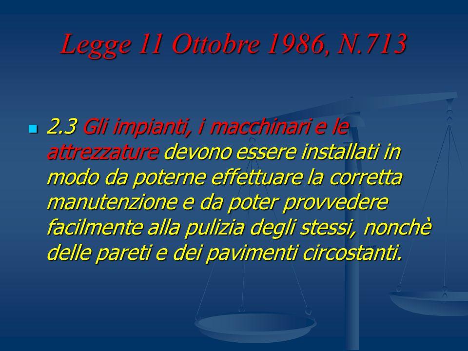 Legge 11 Ottobre 1986, N.713 2.3 Gli impianti, i macchinari e le attrezzature devono essere installati in modo da poterne effettuare la corretta manut