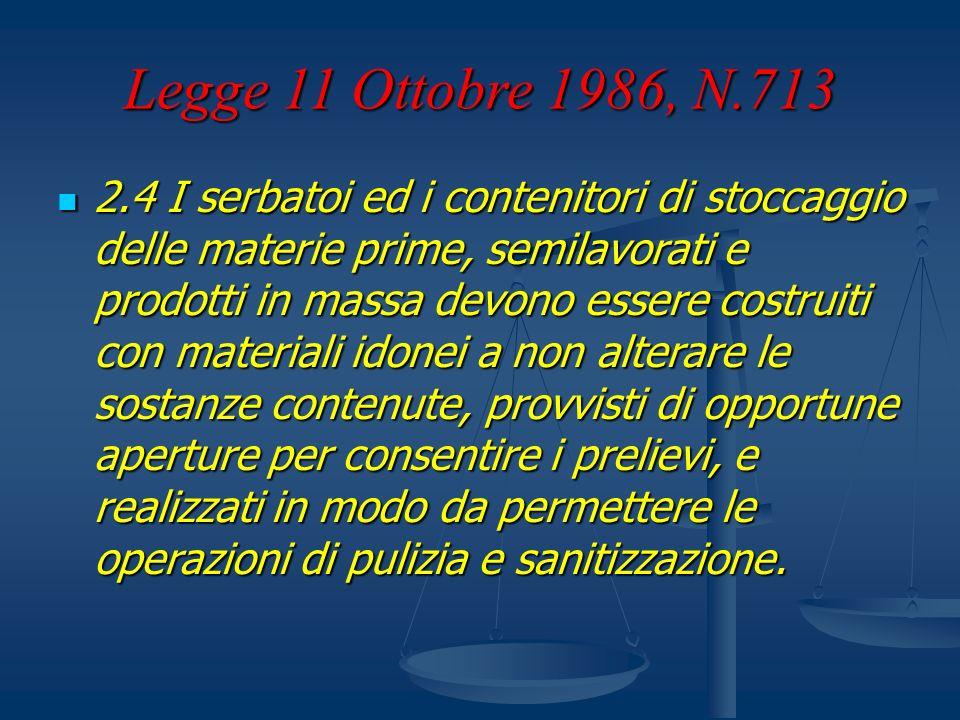 Legge 11 Ottobre 1986, N.713 2.4 I serbatoi ed i contenitori di stoccaggio delle materie prime, semilavorati e prodotti in massa devono essere costrui