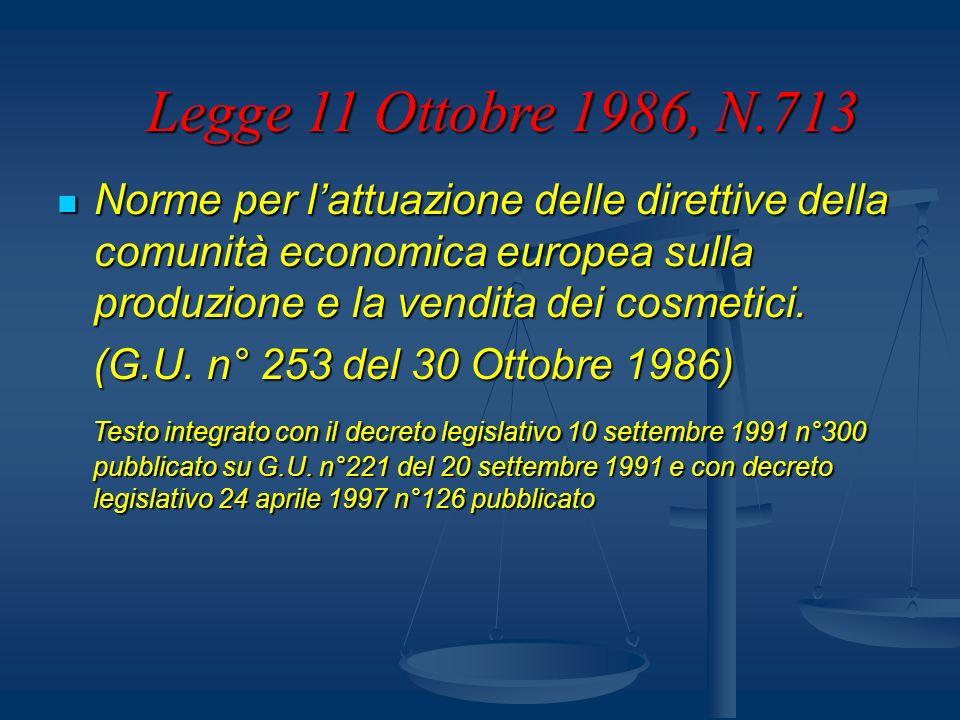 Norme per lattuazione delle direttive della comunità economica europea sulla produzione e la vendita dei cosmetici. Norme per lattuazione delle dirett