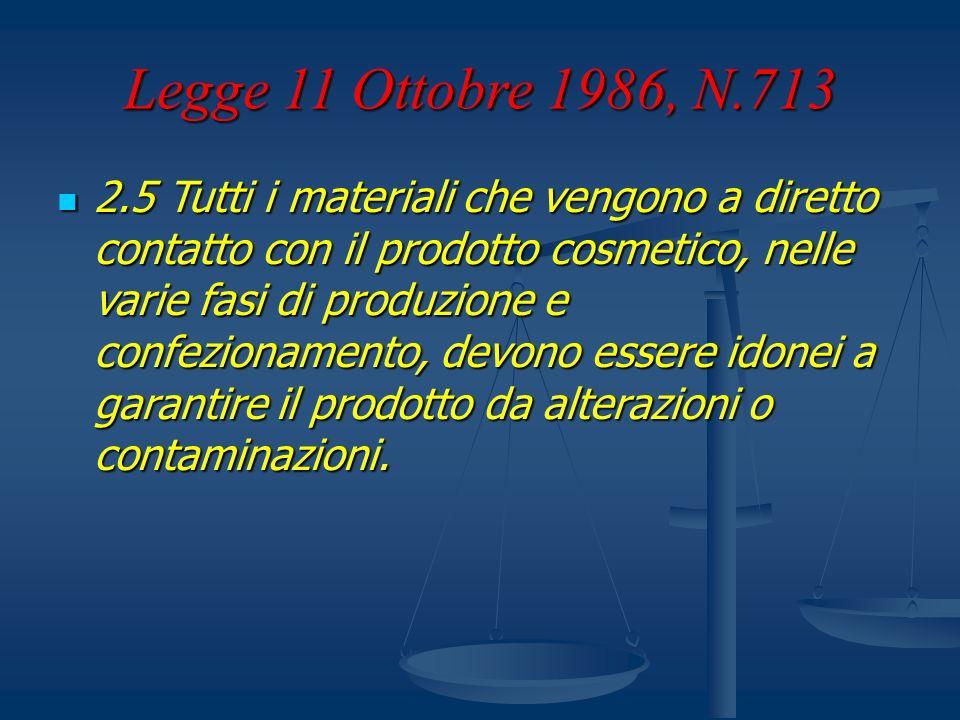 Legge 11 Ottobre 1986, N.713 2.5 Tutti i materiali che vengono a diretto contatto con il prodotto cosmetico, nelle varie fasi di produzione e confezio