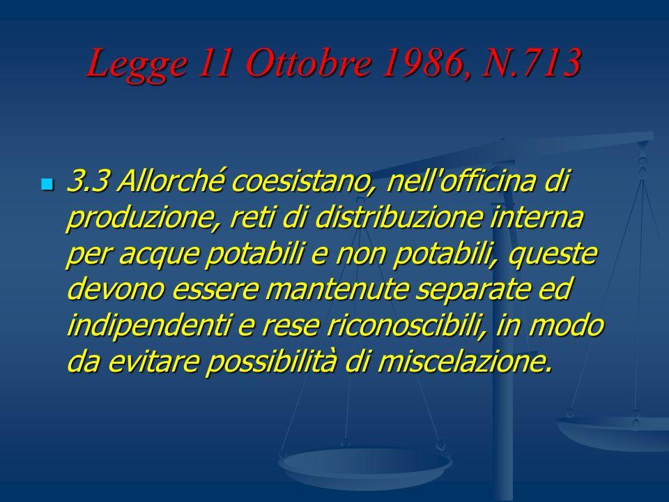 Legge 11 Ottobre 1986, N.713 3.3 Allorché coesistano, nell'officina di produzione, reti di distribuzione interna per acque potabili e non potabili, qu