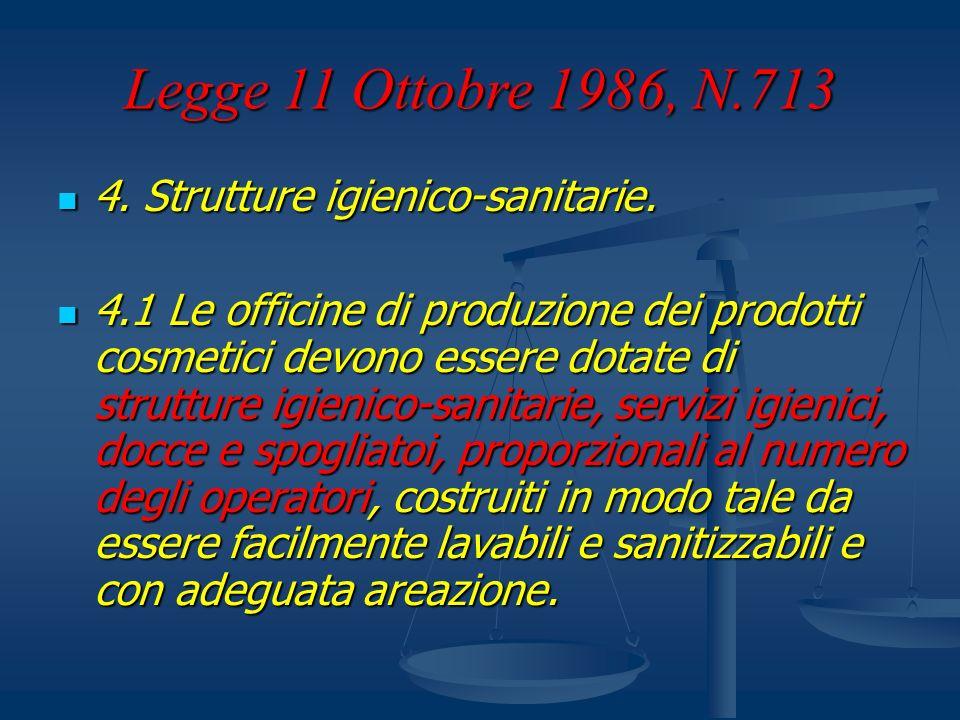 Legge 11 Ottobre 1986, N.713 4. Strutture igienico-sanitarie. 4. Strutture igienico-sanitarie. 4.1 Le officine di produzione dei prodotti cosmetici de