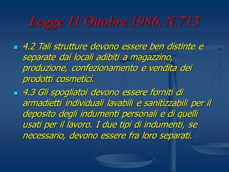 Legge 11 Ottobre 1986, N.713 4.2 Tali strutture devono essere ben distinte e separate dai locali adibiti a magazzino, produzione, confezionamento e ve