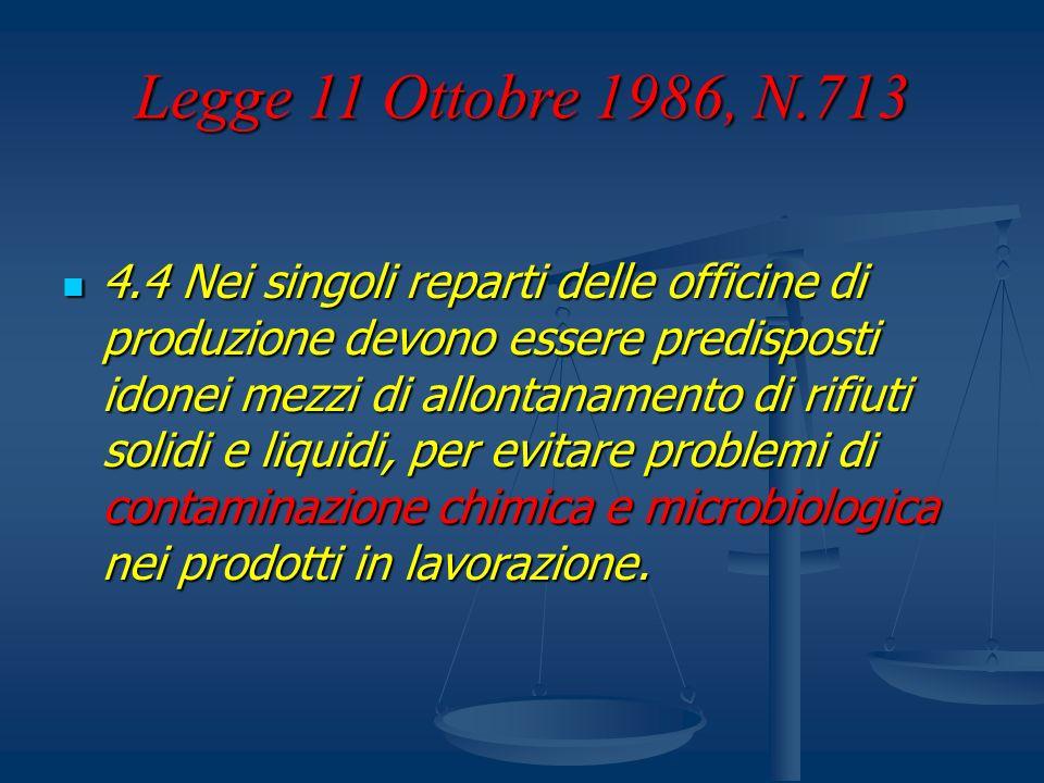 Legge 11 Ottobre 1986, N.713 4.4 Nei singoli reparti delle officine di produzione devono essere predisposti idonei mezzi di allontanamento di rifiuti