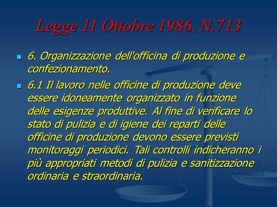 Legge 11 Ottobre 1986, N.713 6. Organizzazione dell'officina di produzione e confezionamento. 6. Organizzazione dell'officina di produzione e confezio