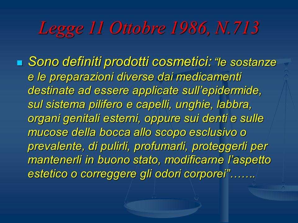 Legge 11 Ottobre 1986, N.713 2.2 Gli impianti, i macchinari e le attrezzature utilizzati in lavorazioni che potrebbero dar luogo ad emissioni inquinanti devono essere realizzate in modo da garantire la salubrità degli ambienti di lavoro.