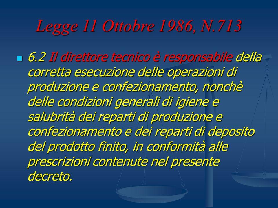 Legge 11 Ottobre 1986, N.713 6.2 Il direttore tecnico è responsabile della corretta esecuzione delle operazioni di produzione e confezionamento, nonch