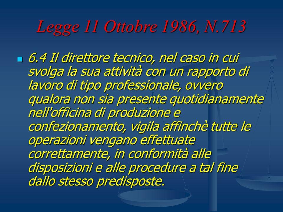Legge 11 Ottobre 1986, N.713 6.4 Il direttore tecnico, nel caso in cui svolga la sua attività con un rapporto di lavoro di tipo professionale, ovvero
