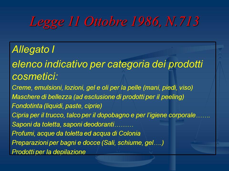 Legge 11 Ottobre 1986, N.713 Fanno eccezione le sostanze incluse nella Farmacopea Europea che vengono riportate con la denominazione in latino (es.
