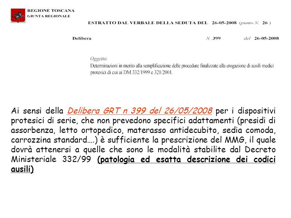 Ai sensi della Delibera GRT n 399 del 26/05/2008 per i dispositivi protesici di serie, che non prevedono specifici adattamenti (presidi di assorbenza,