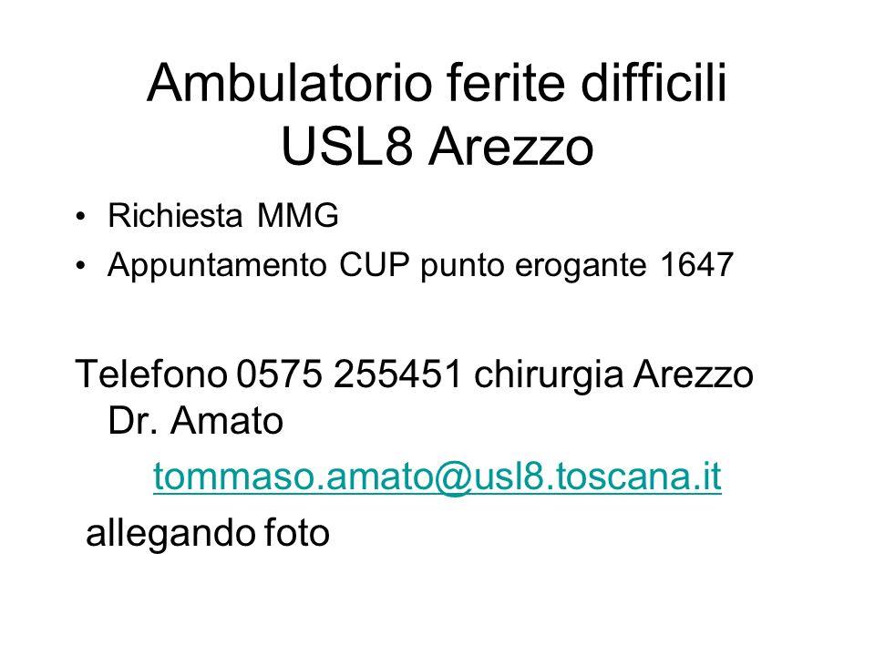 Ambulatorio ferite difficili USL8 Arezzo Richiesta MMG Appuntamento CUP punto erogante 1647 Telefono 0575 255451 chirurgia Arezzo Dr. Amato tommaso.am