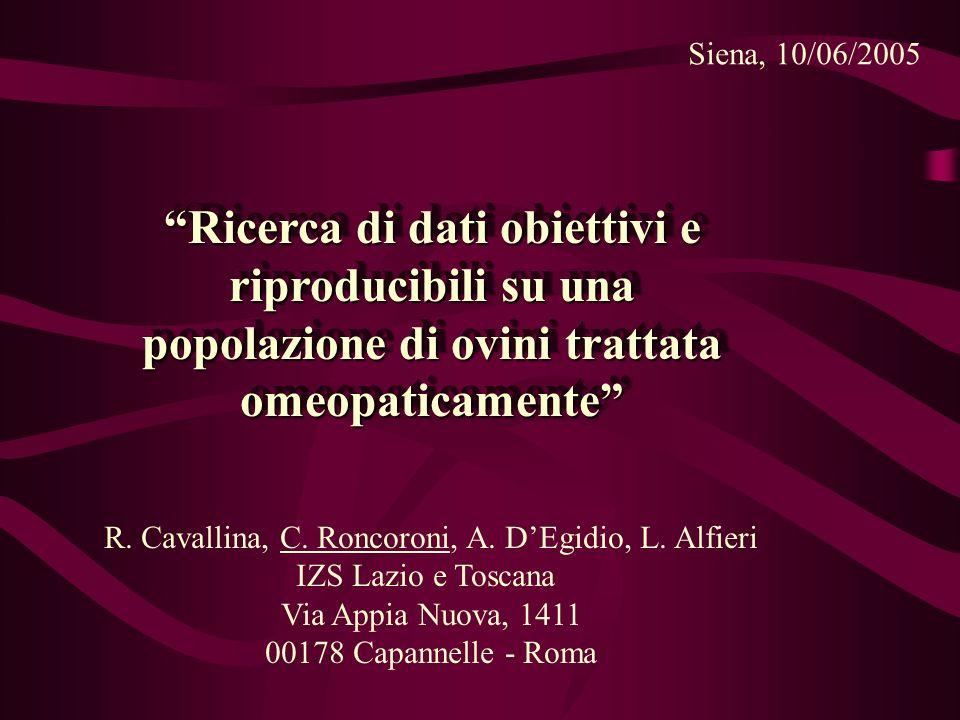 Siena, 10/06/2005 Ricerca di dati obiettivi e riproducibili su una popolazione di ovini trattata omeopaticamente R.