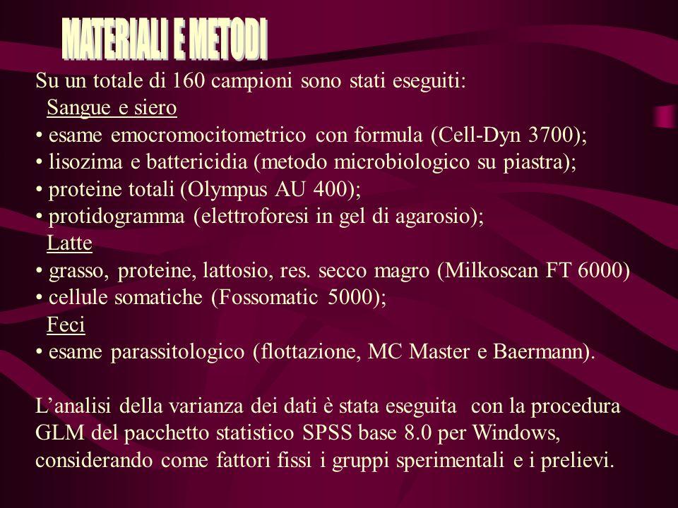 Su un totale di 160 campioni sono stati eseguiti: Sangue e siero esame emocromocitometrico con formula (Cell-Dyn 3700); lisozima e battericidia (metodo microbiologico su piastra); proteine totali (Olympus AU 400); protidogramma (elettroforesi in gel di agarosio); Latte grasso, proteine, lattosio, res.