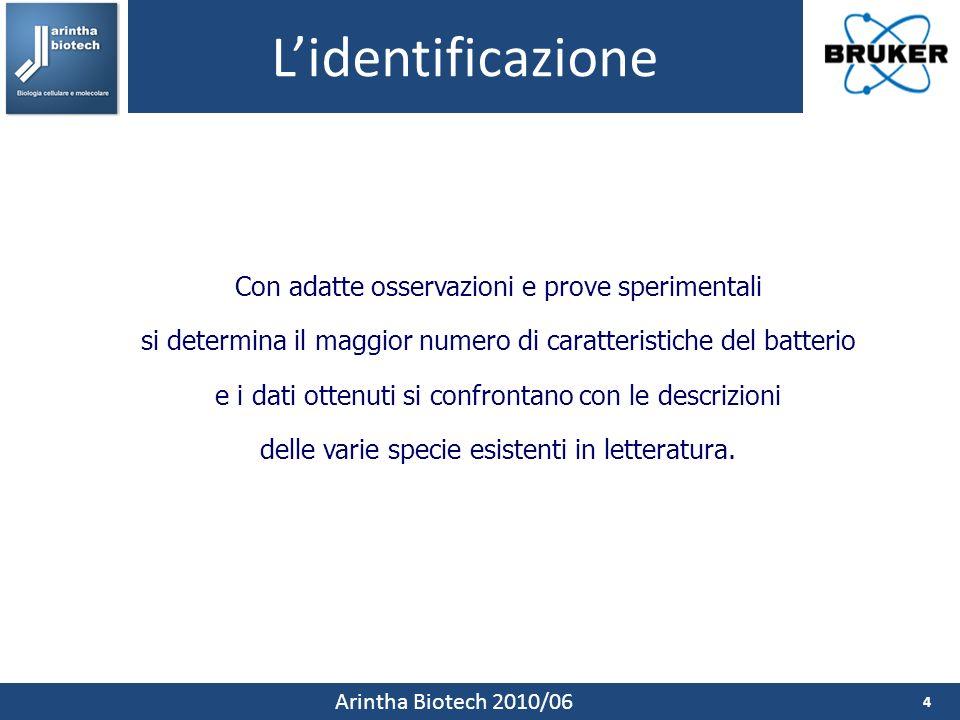 Lidentificazione 4 Arintha Biotech 2010/06 Con adatte osservazioni e prove sperimentali si determina il maggior numero di caratteristiche del batterio e i dati ottenuti si confrontano con le descrizioni delle varie specie esistenti in letteratura.