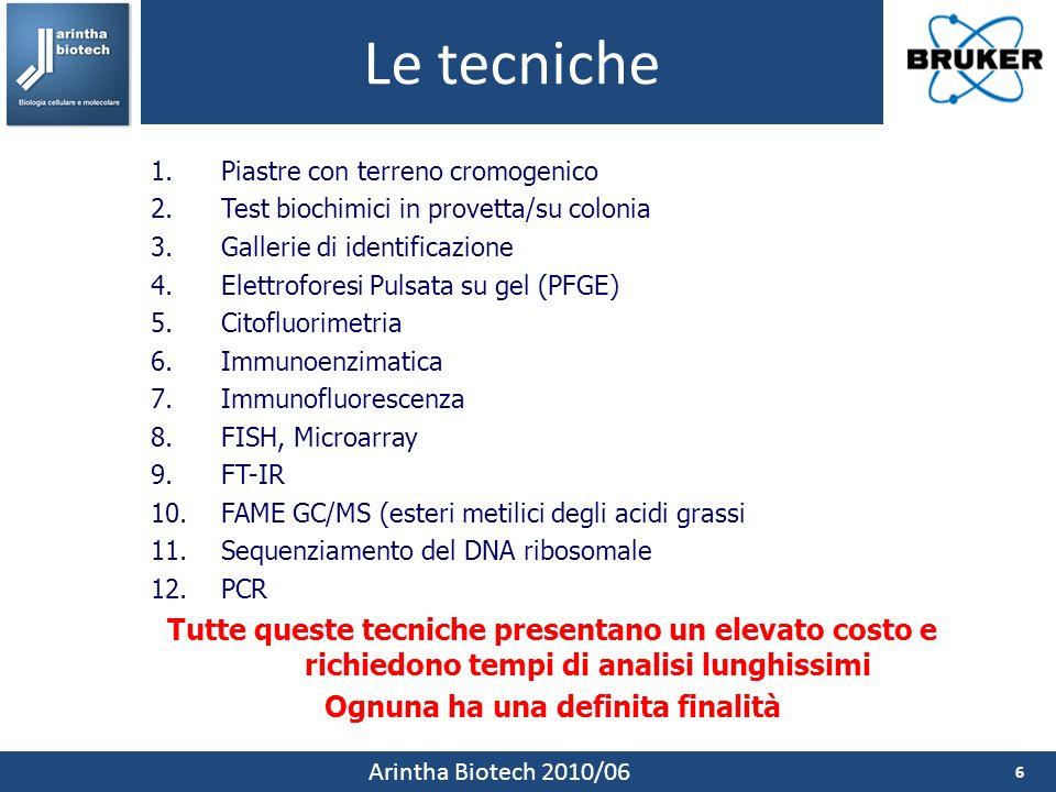 Le tecniche 6 Arintha Biotech 2010/06 1.Piastre con terreno cromogenico 2.Test biochimici in provetta/su colonia 3.Gallerie di identificazione 4.Elettroforesi Pulsata su gel (PFGE) 5.Citofluorimetria 6.Immunoenzimatica 7.Immunofluorescenza 8.FISH, Microarray 9.FT-IR 10.FAME GC/MS (esteri metilici degli acidi grassi 11.Sequenziamento del DNA ribosomale 12.PCR Tutte queste tecniche presentano un elevato costo e richiedono tempi di analisi lunghissimi Ognuna ha una definita finalità