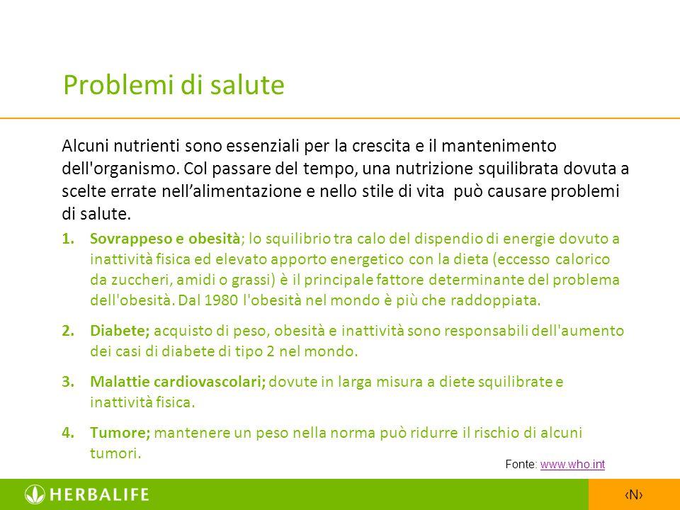 N Problemi di salute 1.Sovrappeso e obesità; lo squilibrio tra calo del dispendio di energie dovuto a inattività fisica ed elevato apporto energetico