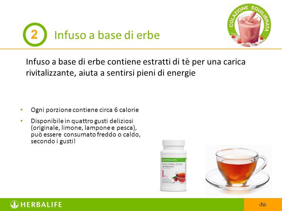 N Infuso a base di erbe Infuso a base di erbe contiene estratti di tè per una carica rivitalizzante, aiuta a sentirsi pieni di energie Ogni porzione c