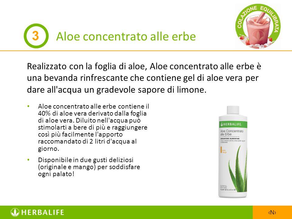 N Aloe concentrato alle erbe Realizzato con la foglia di aloe, Aloe concentrato alle erbe è una bevanda rinfrescante che contiene gel di aloe vera per