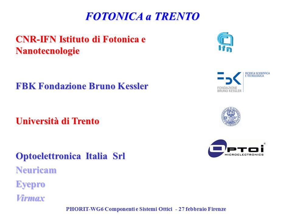 PHORIT-WG6 Componenti e Sistemi Ottici - 27 febbraio Firenze FOTONICA a TRENTO CNR-IFN Istituto di Fotonica e Nanotecnologie FBK Fondazione Bruno Kess
