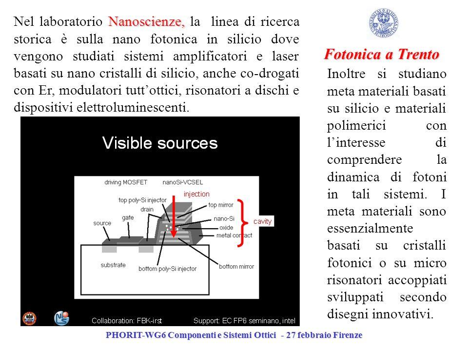 PHORIT-WG6 Componenti e Sistemi Ottici - 27 febbraio Firenze Fotonica a Trento Inoltre si studiano meta materiali basati su silicio e materiali polimerici con linteresse di comprendere la dinamica di fotoni in tali sistemi.