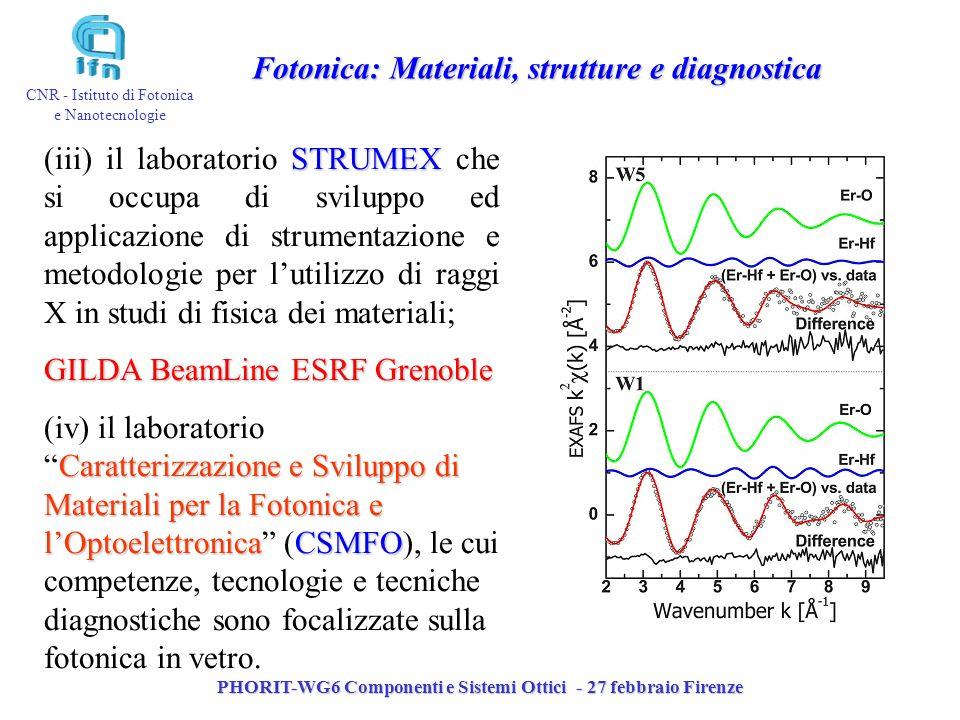 PHORIT-WG6 Componenti e Sistemi Ottici - 27 febbraio Firenze CNR - Istituto di Fotonica e Nanotecnologie STRUMEX (iii) il laboratorio STRUMEX che si o