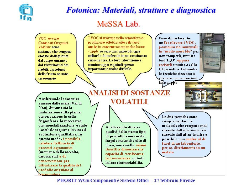 PHORIT-WG6 Componenti e Sistemi Ottici - 27 febbraio Firenze Fotonica: Materiali, strutture e diagnostica MeSSA Lab.