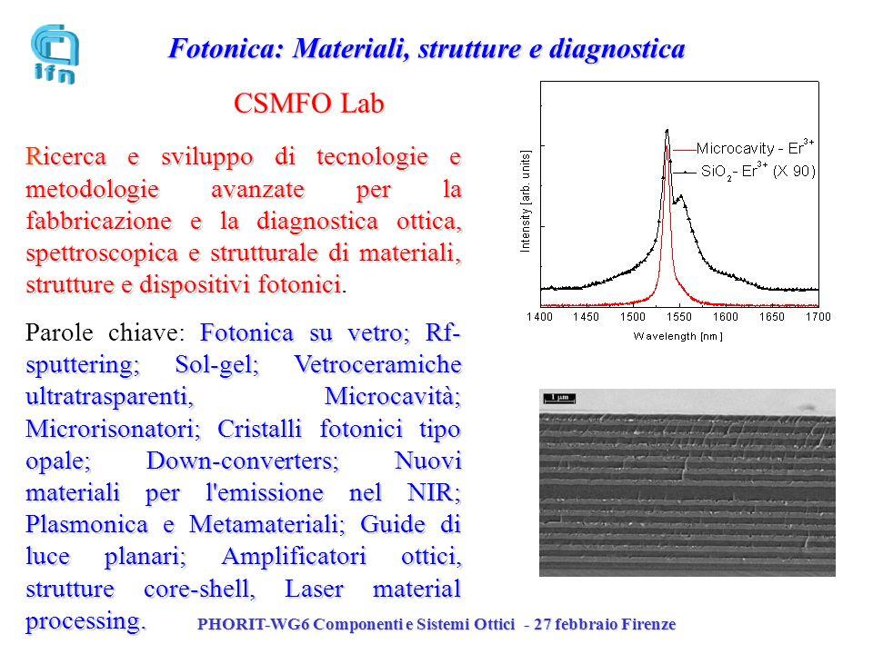 PHORIT-WG6 Componenti e Sistemi Ottici - 27 febbraio Firenze CSMFO Lab Ricerca e sviluppo di tecnologie e metodologie avanzate per la fabbricazione e