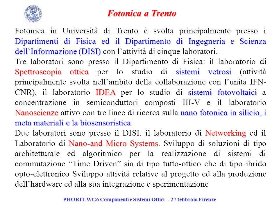 PHORIT-WG6 Componenti e Sistemi Ottici - 27 febbraio Firenze Fotonica a Trento Dipartimenti di Fisica ed il Dipartimento di Ingegneria e Scienza dellI