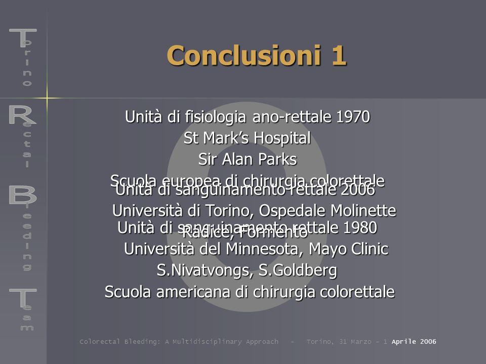 Conclusioni 1 Unità di sanguinamento rettale 1980 Università del Minnesota, Mayo Clinic S.Nivatvongs, S.Goldberg Scuola americana di chirurgia coloret