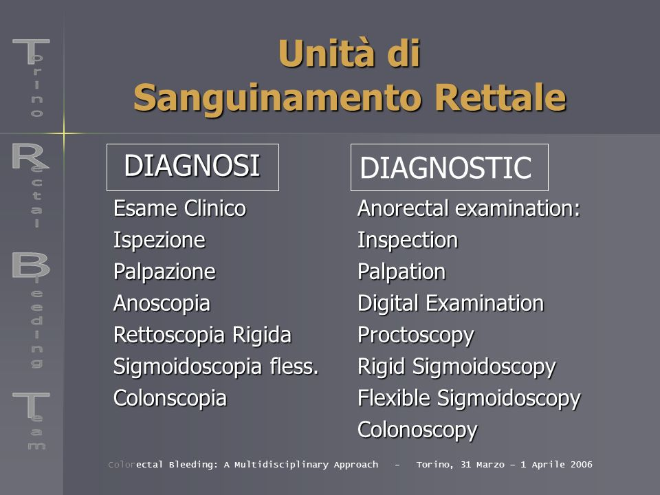 Ambulatorio Sala Operatoria 1 Sala Operatoria 2 Unità di Sanguinamento Rettale Legatura Elastica Asportazione Emorroidi Trombizzate Day Surgery Chirurgia maggiore Colorectal Bleeding: A Multidisciplinary Approach - Torino, 31 Marzo – 1 Aprile 2006 TERAPIA Outcome patients Operating room 1 Operating room 2 Rubber-Banding of Haemorrhoids Excision of the thrombosed hemorrhoid Day Surgery Complex Surgery TREATMENT