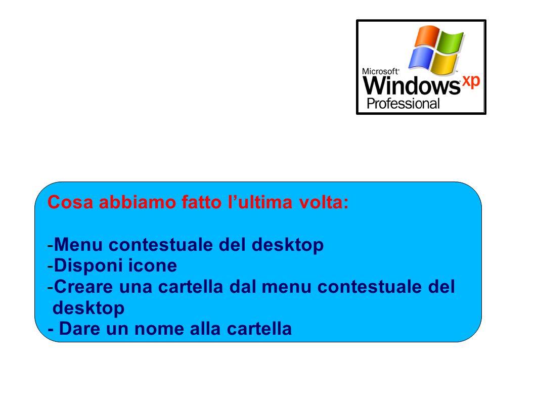 Cosa abbiamo fatto lultima volta: -Menu contestuale del desktop -Disponi icone -Creare una cartella dal menu contestuale del desktop - Dare un nome al