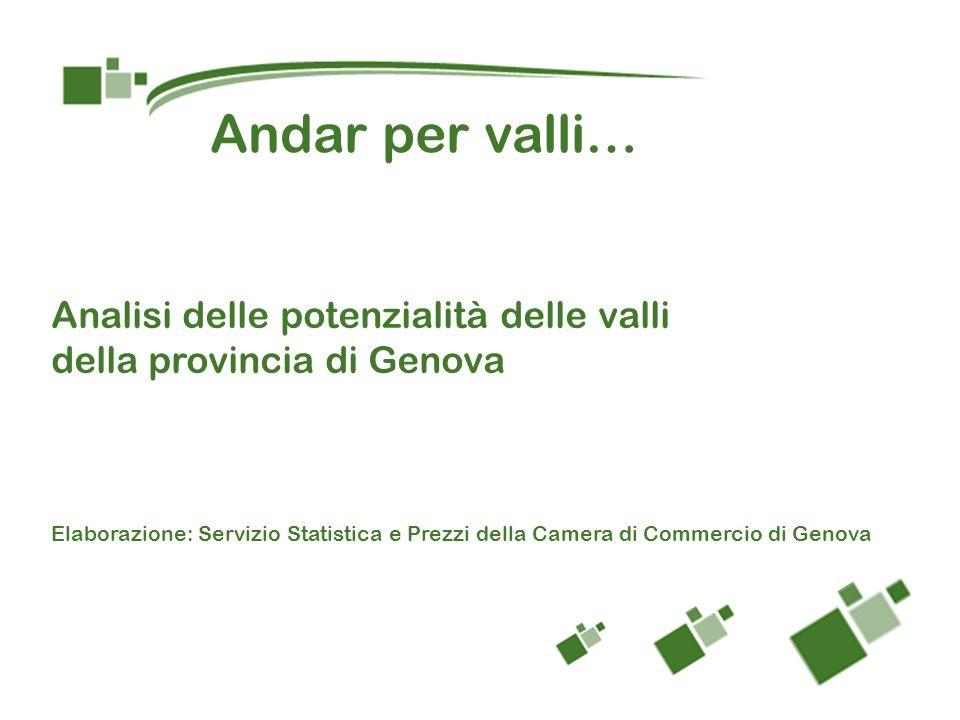 Analisi delle potenzialità delle valli della provincia di Genova Elaborazione: Servizio Statistica e Prezzi della Camera di Commercio di Genova Andar per valli…