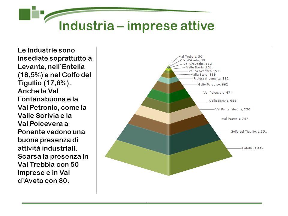 Industria – imprese attive Le industrie sono insediate soprattutto a Levante, nellEntella (18,5%) e nel Golfo del Tigullio (17,6%). Anche la Val Fonta