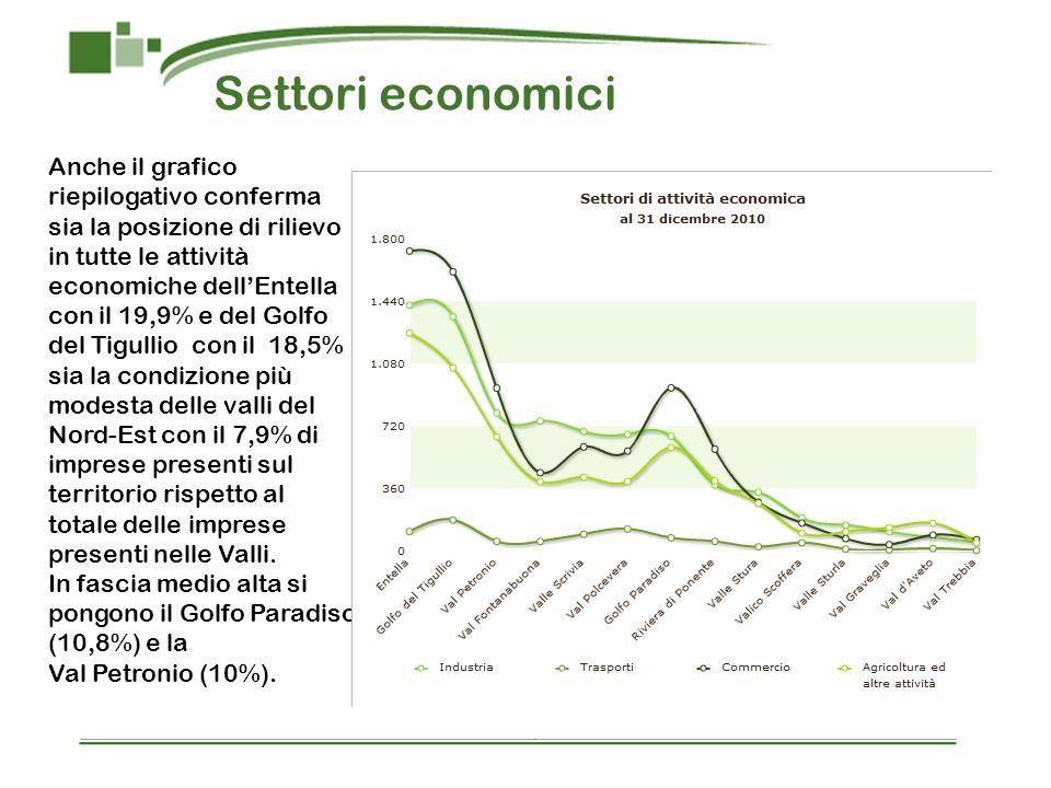 Settori economici Anche il grafico riepilogativo conferma sia la posizione di rilievo in tutte le attività economiche dellEntella con il 19,9% e del G