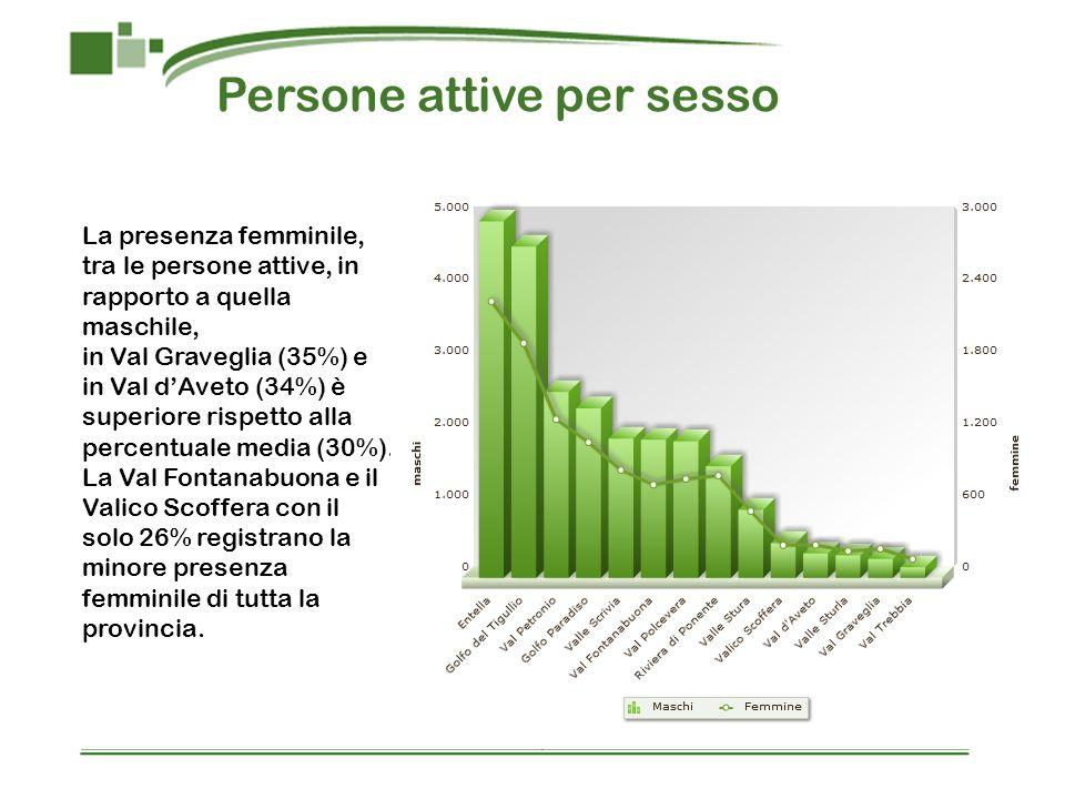 Persone attive per sesso La presenza femminile, tra le persone attive, in rapporto a quella maschile, in Val Graveglia (35%) e in Val dAveto (34%) è superiore rispetto alla percentuale media (30%).