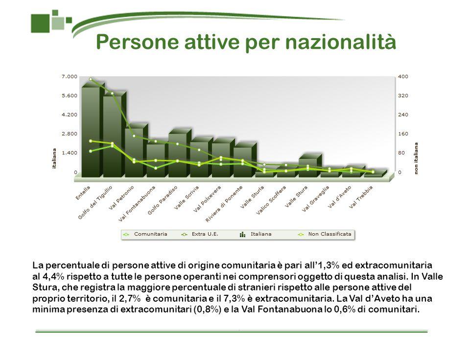 Persone attive per nazionalità La percentuale di persone attive di origine comunitaria è pari all1,3% ed extracomunitaria al 4,4% rispetto a tutte le persone operanti nei comprensori oggetto di questa analisi.